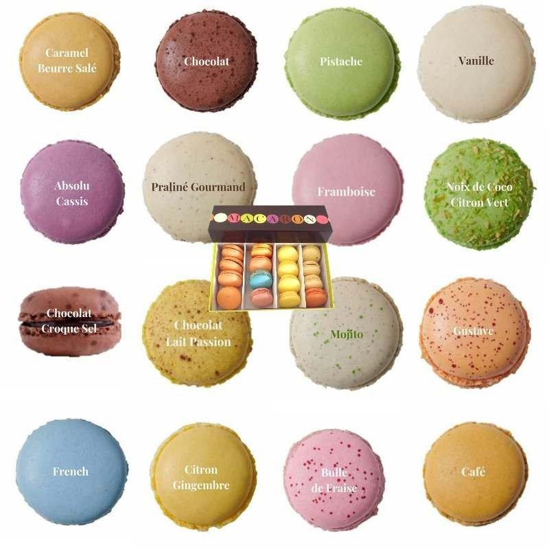 Boîte de 16 délicieux macarons choisis soigneusement